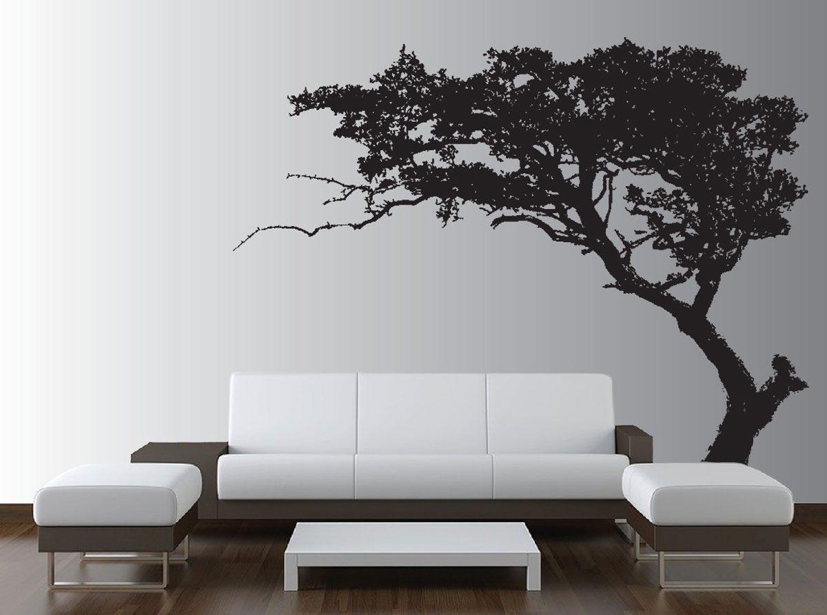 Desain Hiasan Dinding Ruang Tamu Gambar Pohon Dengan Sofa