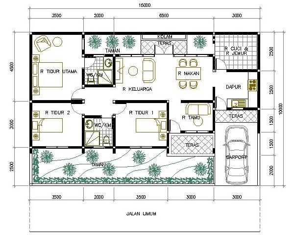Desain Rumah Ruko Minimalis 1 Lantai denah rumah minimalis 1 lantai efrata desain kontraktor