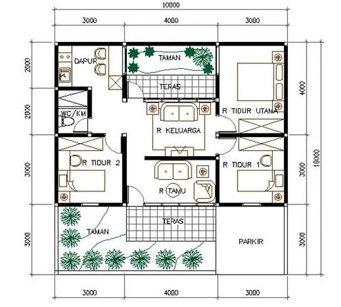 denah rumah minimalis 2 lantai type 200 - efrata desain